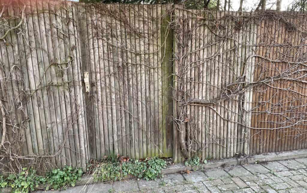 Holzzaun mit Tür von Ästen übersät