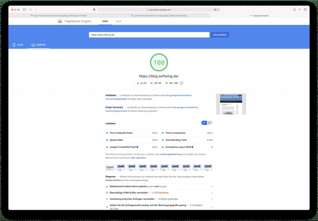 neuer Wert PageSpeed Insigts