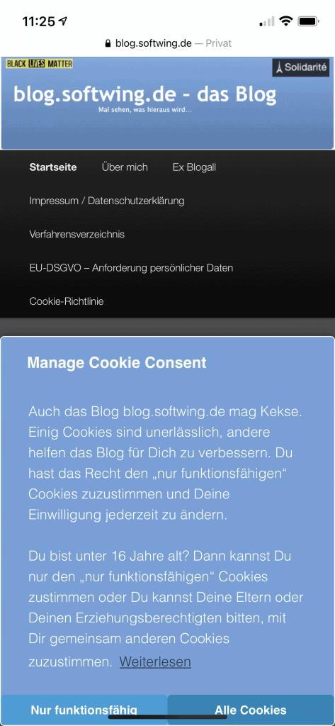 Blog mit Cookie Banner