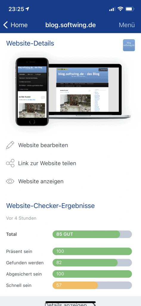 Website-Check-Ergebis des Blogs