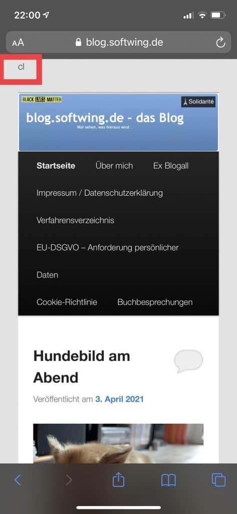 Screenshot Blog mit Defacement