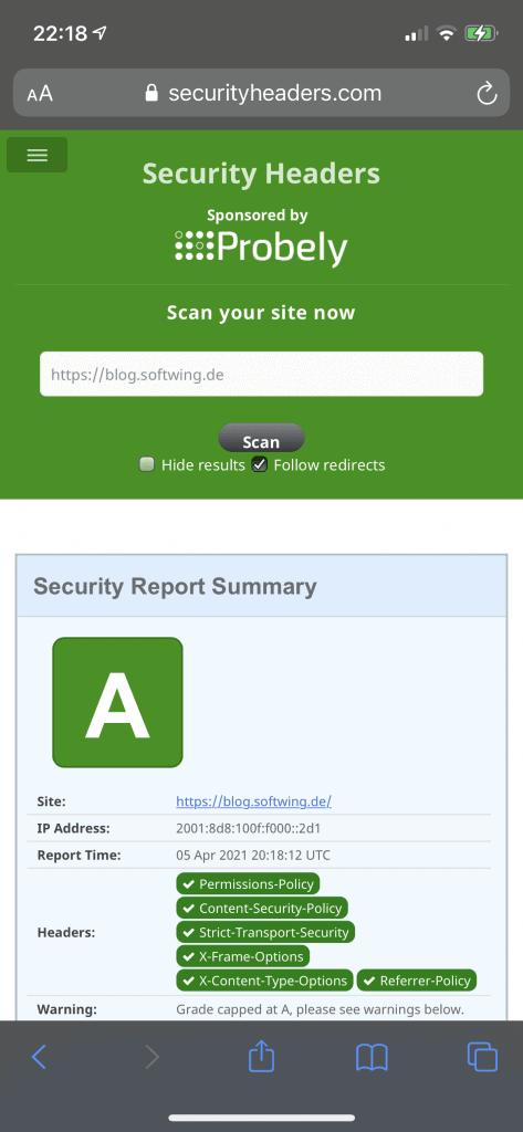 Security Header Ergebnis des Blogs