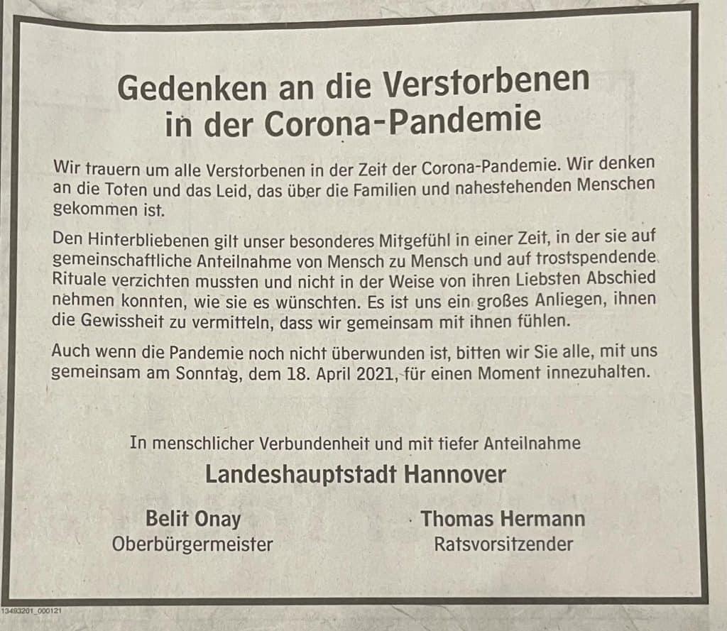 Todesanzeige der Stadt Hannover zum Gedenken der Corona-Toten