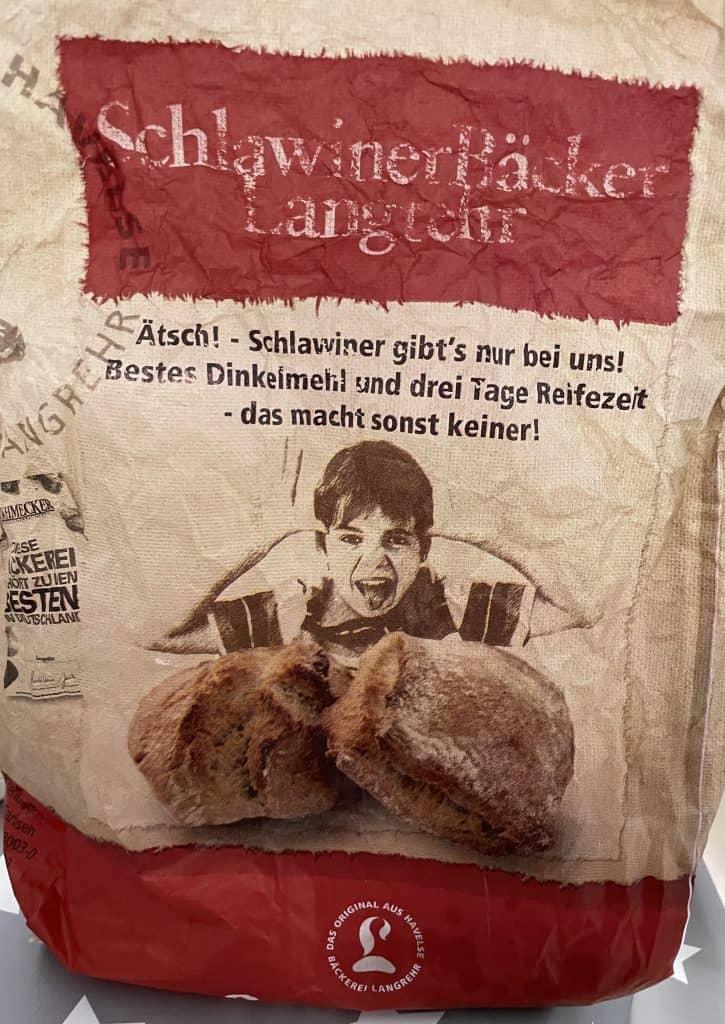 Langreher-Brötchentüte mit Schlawiener-Reklame