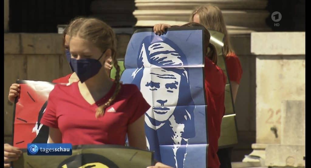 Erinnerungsaktion an Sophie Scholl von münchner Studenten