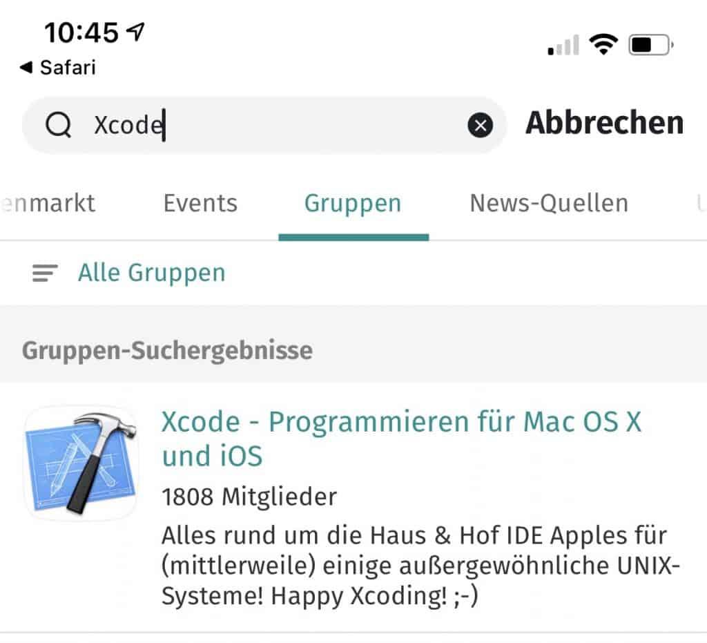 Screenshot XING mit Xcode-Gruppe