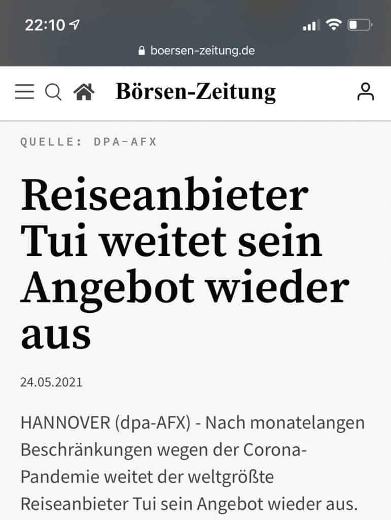 Blrsen-Zeitungsschlagzeile zu TUI