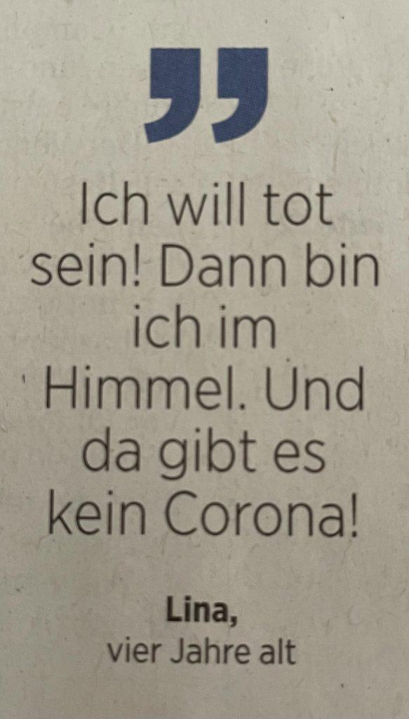 Corona-Zitat einer Vierjährigen