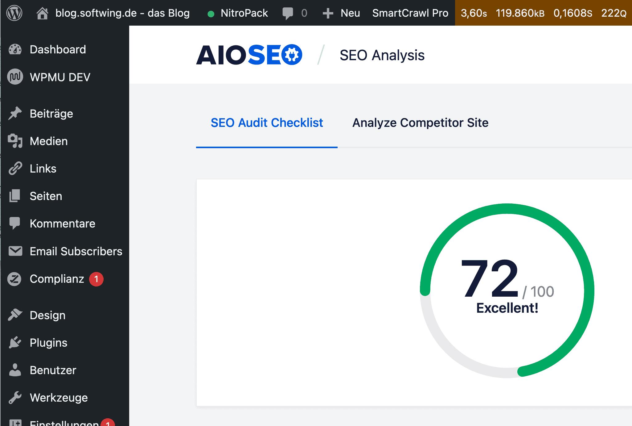 Screenshot AIOSEO Ergebnis