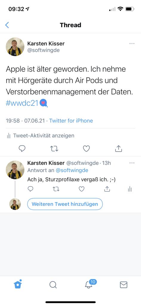 Twitterzitat zur WWDC von Apple