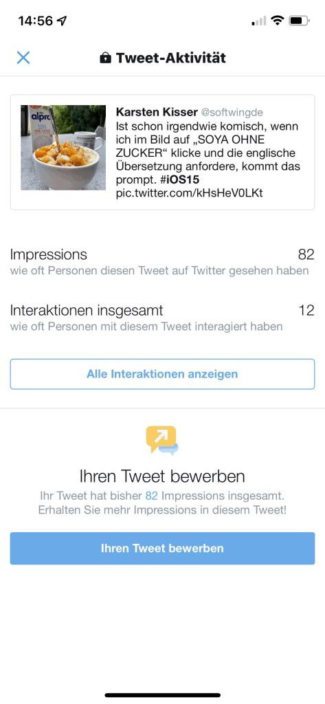 Twitterscreen meines Tweets zu neuem iOS 15 Festure