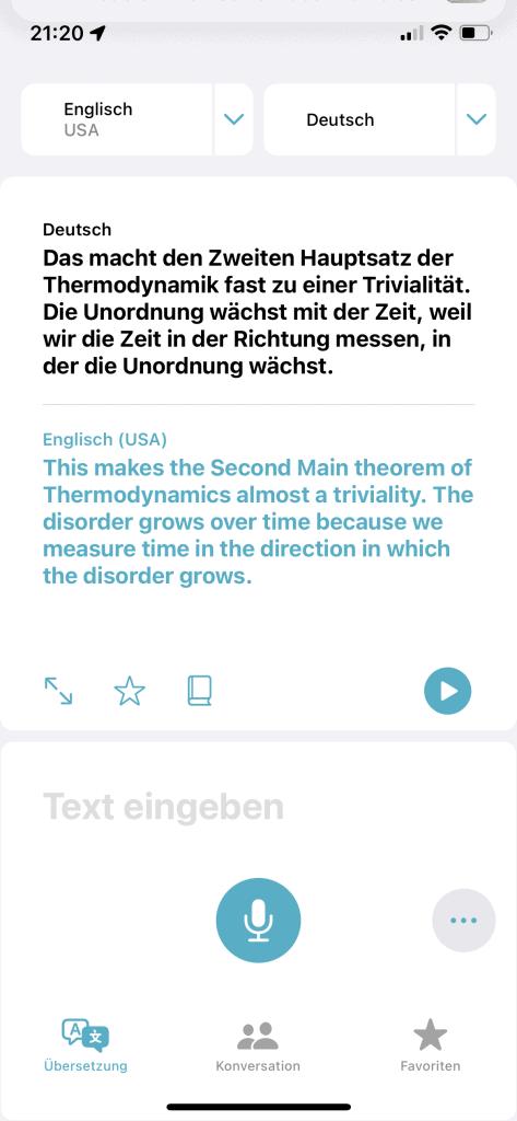 iOS Übersetzen Screen