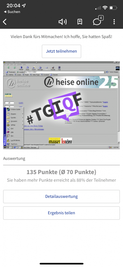 Heise TGIQF Screenshot