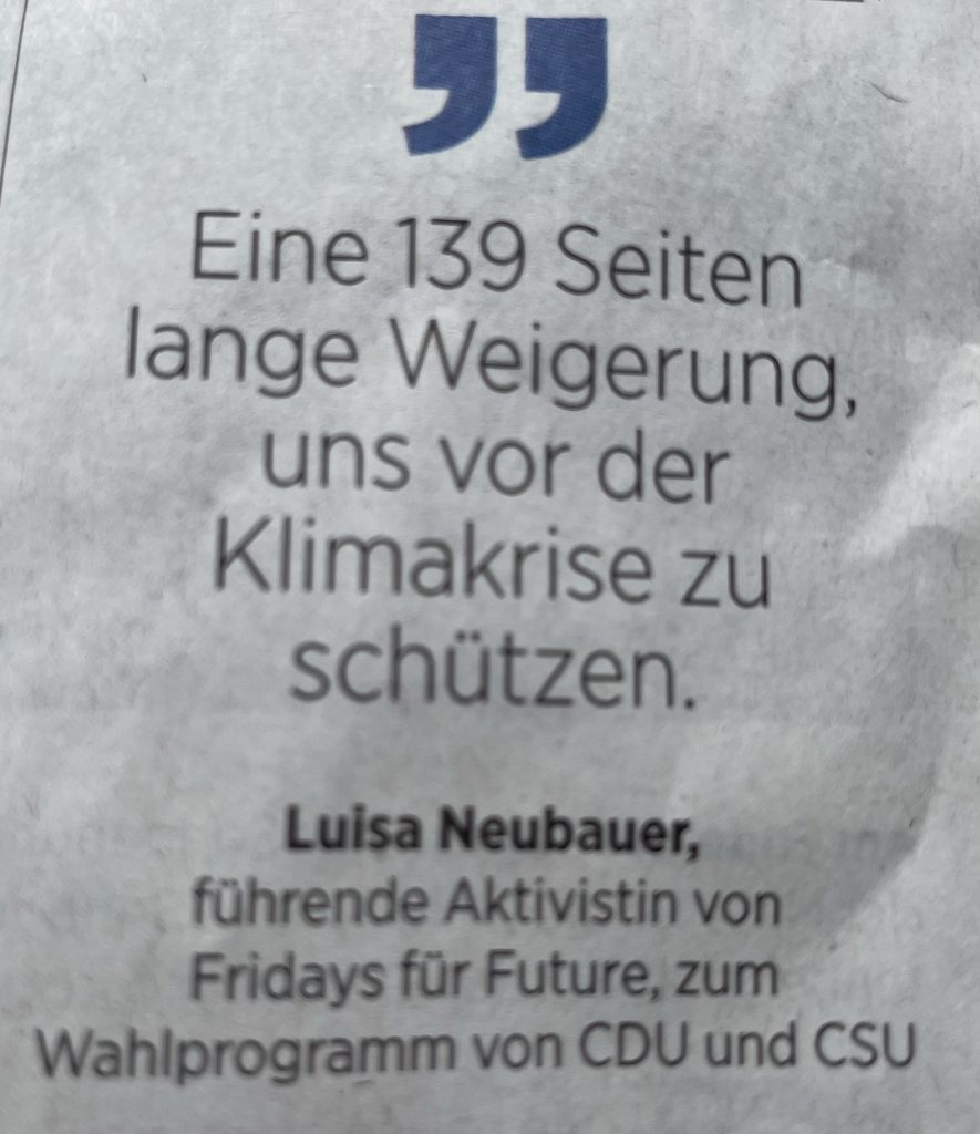 Luisa Neubauer über das Unionswahlprogramm