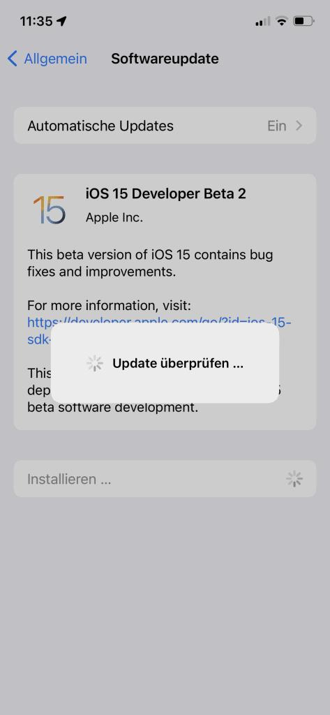 iOS Softwareupdate iOS 15 Beta 2 Screen