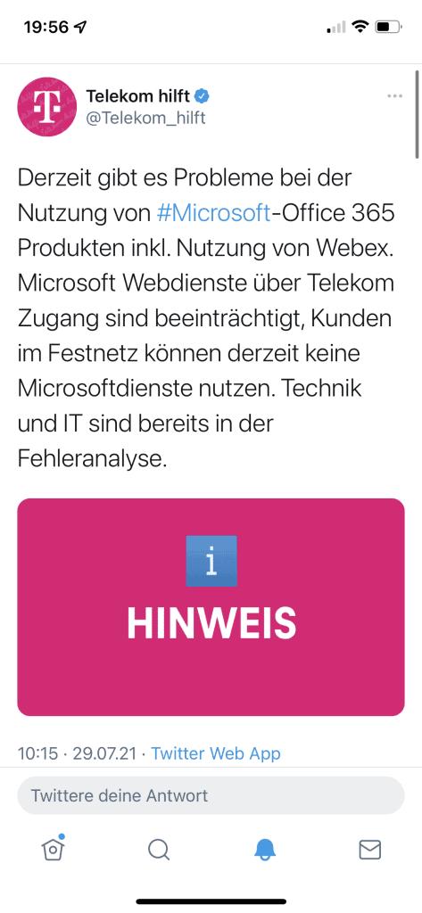 Twitter: Telekom hilft zzm Office 364 Problem