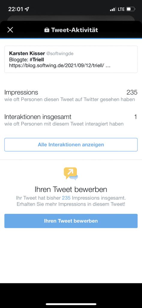 Twitter Impressionwn zu diesem Tweet