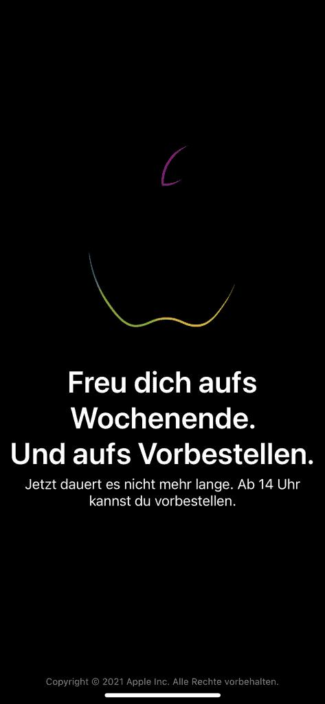 Wartenscreen in Apple Store App