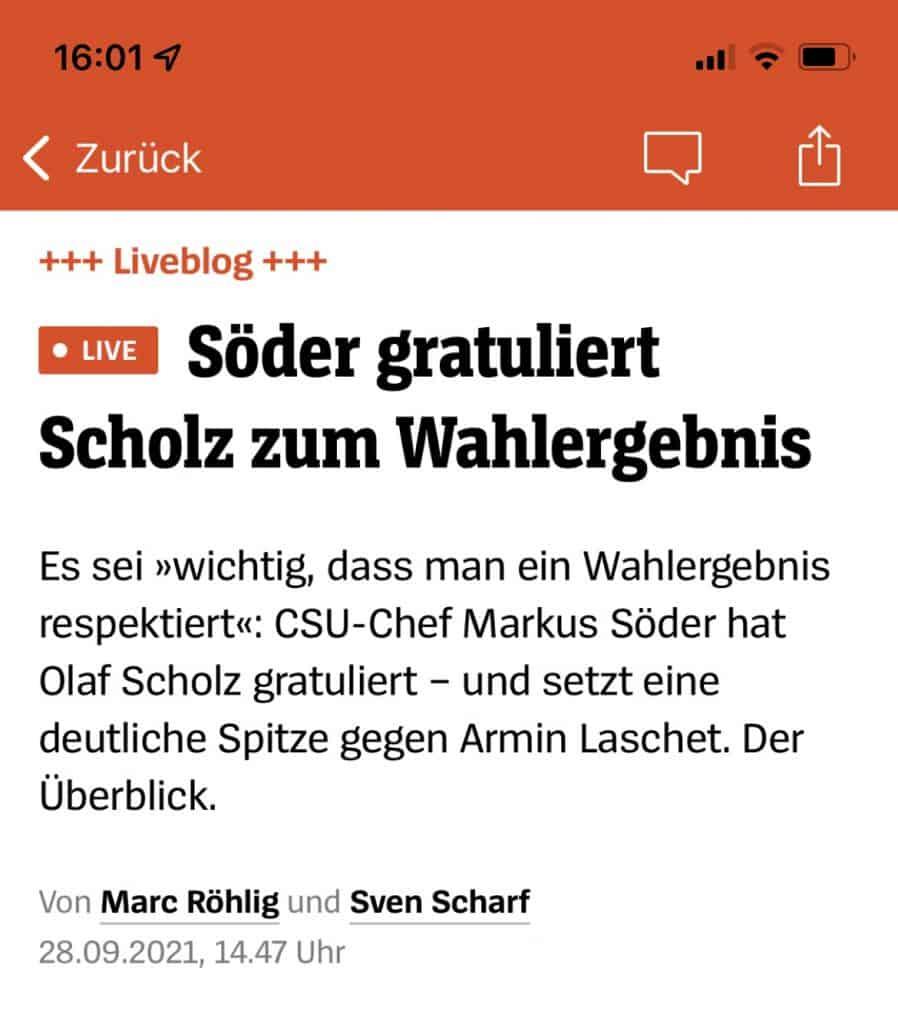 SPON: Söder gratuliert Scholz zum Wahlsieg