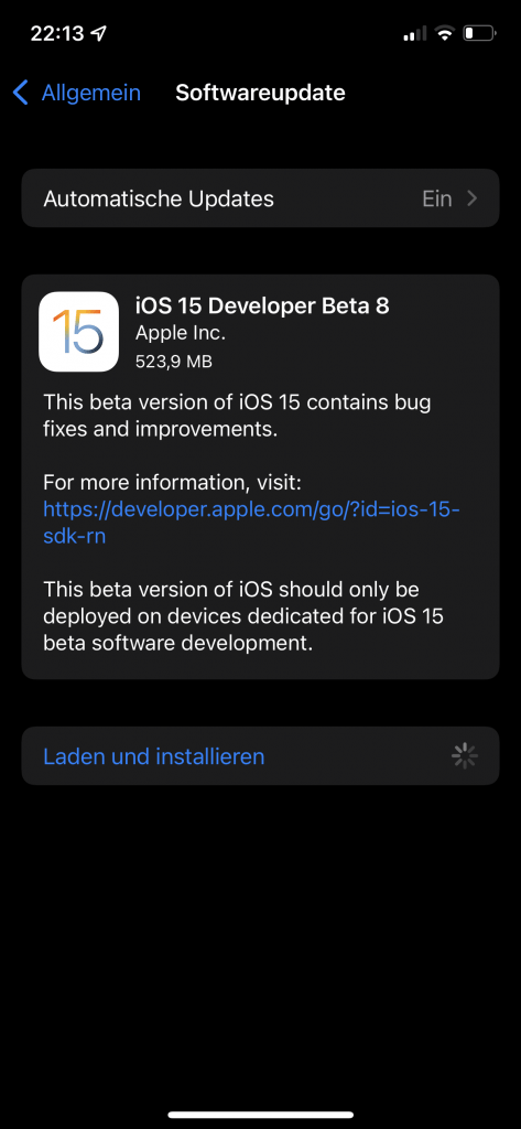 iOS Install Beta 8