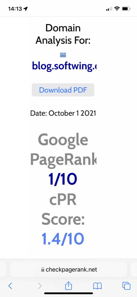 Google Page Rank vom Blog