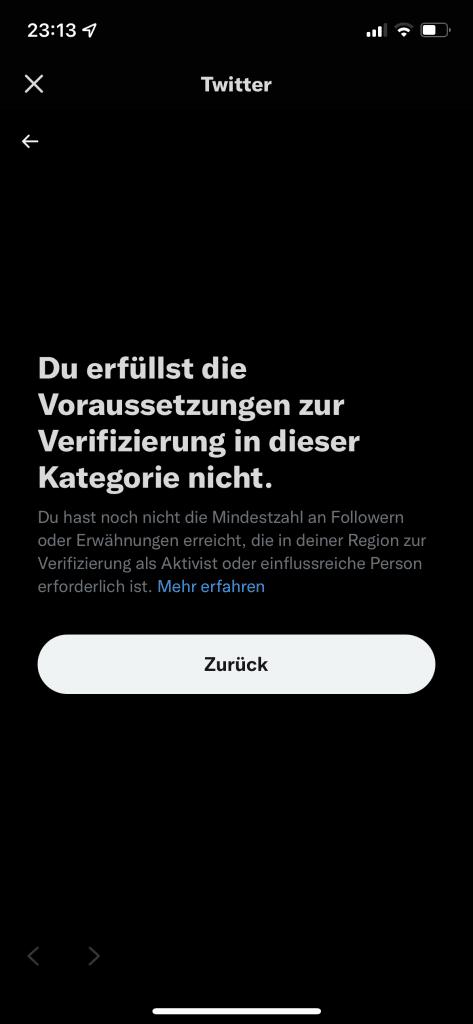 Twitter-Screenshot zur Verifizierung